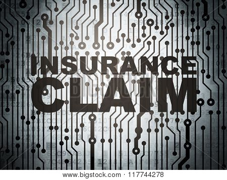 Insurance concept: circuit board with Insurance Claim