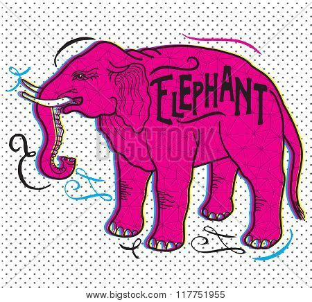 Big Animal. Elephant On A Beige Background. Elephant With A Sign. Contour Elephant. Hand Drawing Of An Elephant. Elephant in the Art Nouveau style. Vector Drawing Of An Elephant. Elephant Pop Art.