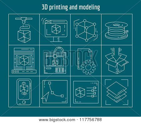 Printing and modeling Vector set of linear icons
