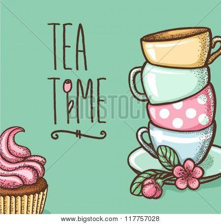 tea time card. vector illustration