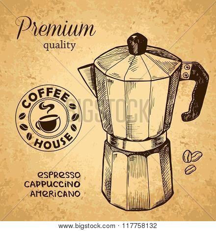Coffee ware. Coffee pot sketch illustration.