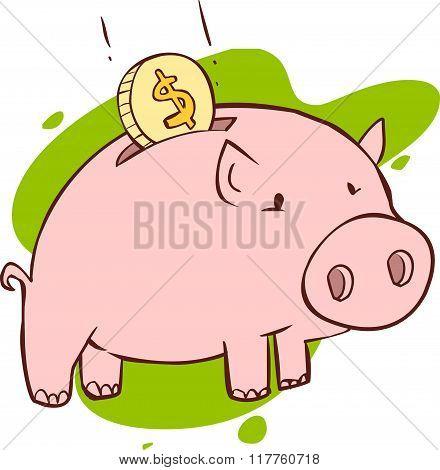 Vector Illustration Of A  Pink Piggy Bank
