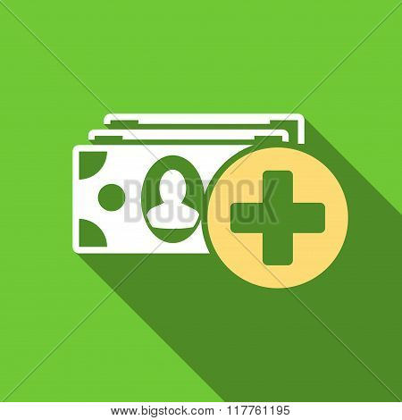 Medical Expences Flat Long Shadow Square Icon