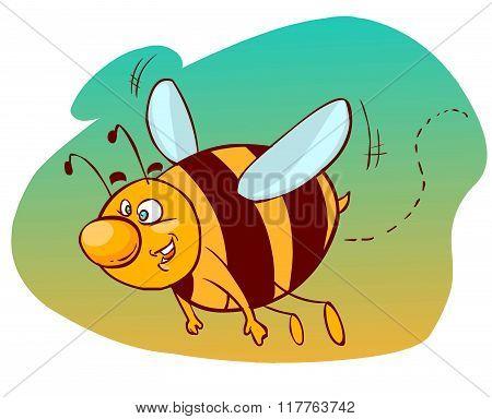 Vector Illustration Of A Cartoon Flying Bee