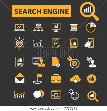 seo optimization icons, search engine icons, seo promotion, seo concept