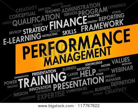Performance Management word cloud collage, business concept background poster