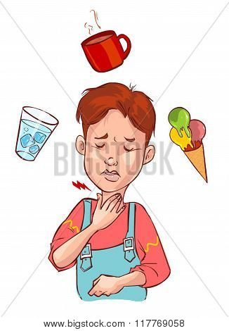 Vector Illustration Of A Sore Throat Child