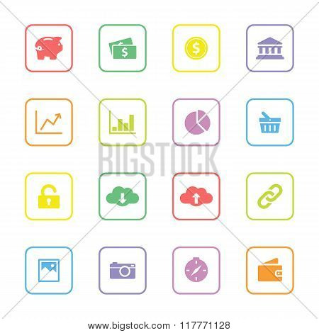 colorful web icon set 4 with rounded rectangle frame