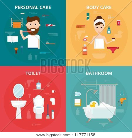 Man and woman hygiene icons vector set isolated on background. Face and skin cleaning, toilet and bathroom hygiene vector icons illustration. Hygiene toolls sign