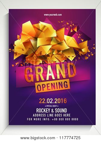 Grand Opening Flyer, Banner or Template decorated with glossy golden abstract design.