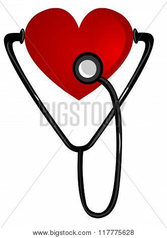 White Background Vector Illustration Of A Heart Stethoscope