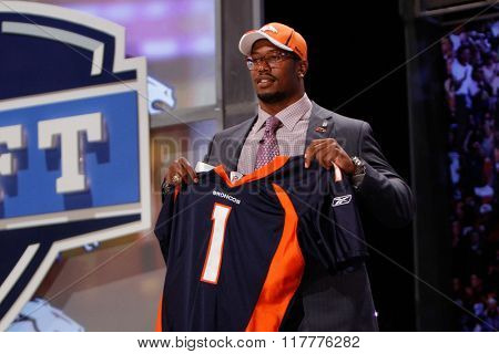 Von Miller (R) is introduced as the second pick to the Denver Broncos at the NFL Draft 2011 at Radio City Music Hall in New York, NY.