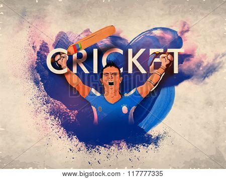 Cricket Batsman in winning pose on abstract paint stroke, vintage background for Sports concept.