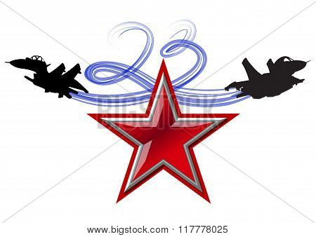 23 February holiday. Patriotic celebration military in Russia poster