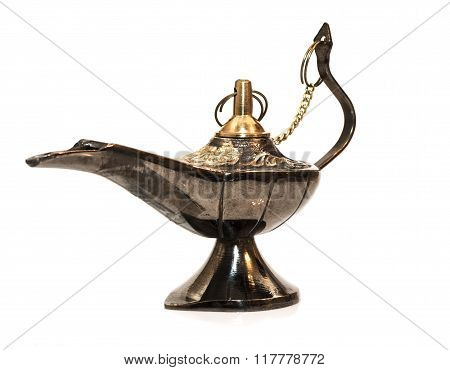 Gina ancient lamp from Agraby African legend on a white background