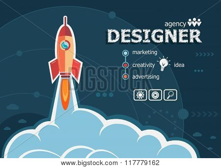 Designer Design And Concept Background With Rocket.