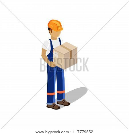 Man Delivery of Goods Isolated Design