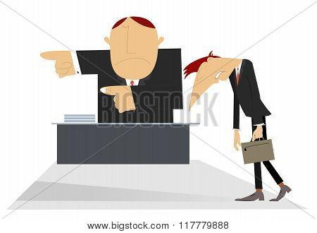 Director and sad employee