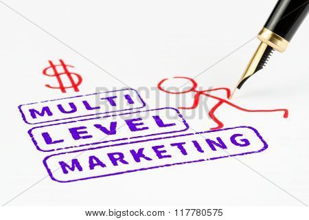 Multi Level Marketing Stamps That Represents Climbing To Success, Mlm Concept.