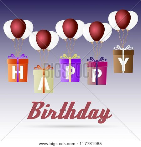 Happy Birthday Variations Gift Package Soaring With Helium Balloons Icons Set Eps10