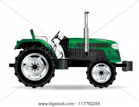 Green Isolated Tractor