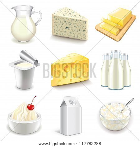 Dairy Products Icons Vector Set