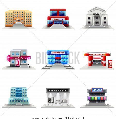 Town Buildings Icons Vector Set