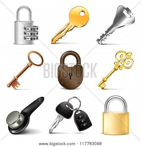 Keys And Locks Icons Vector Set