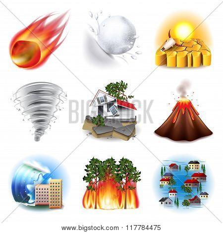 Natural Disasters Icons Vector Set