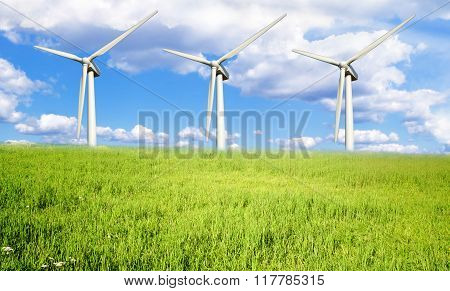Green Meadow With Wind Turbines Electricity.