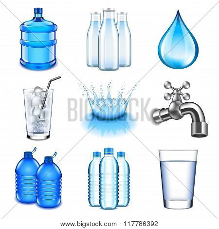 Water Drinks Icons Vector Set