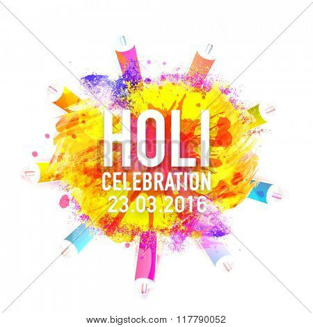 Colourful splash and water guns (Pichkari) decorated Poster, Banner or Flyer for Indian Colour Festival, Happy Holi celebration.