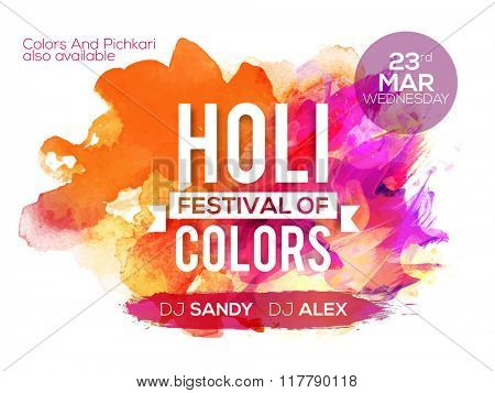 Colourful abstract design decorated Poster, Banner or Flyer for Indian Colour Festival, Holi celebration.