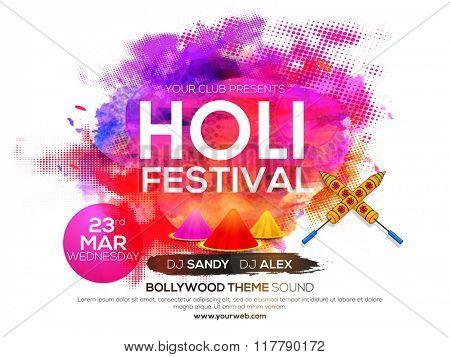 Creative colorful Poster, Banner or Flyer design for Indian Festival of Colours, Holi celebration.