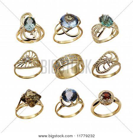 Set Of Elegant Female Jewelry Golden Rings