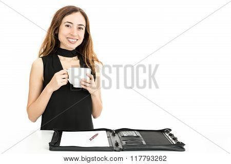 Business Woman Drinking Coffee During Work