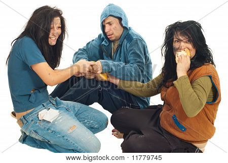 Beggars Sharing A Bread
