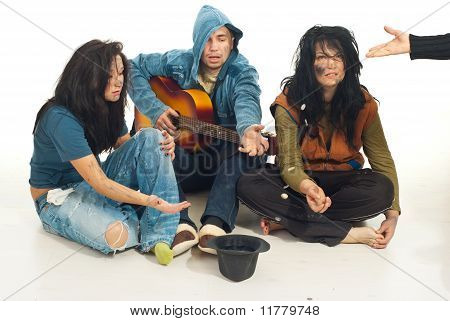 Beggars With Guitar Singing For Money