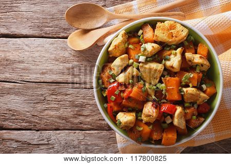 Chicken Stew With Pumpkin And Pepper Close-up Horizontal Top View