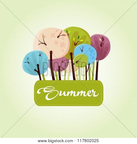 Beautiful summer trees banner