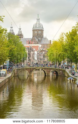 Amsterdam the Netherlands -September 17 2015: Canal and St. Nicolas Church in Amsterdam capital and most populous city of the Netherlands.