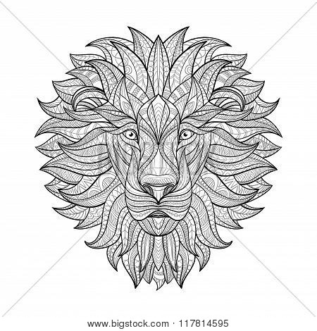 Detailed Lion in aztec style