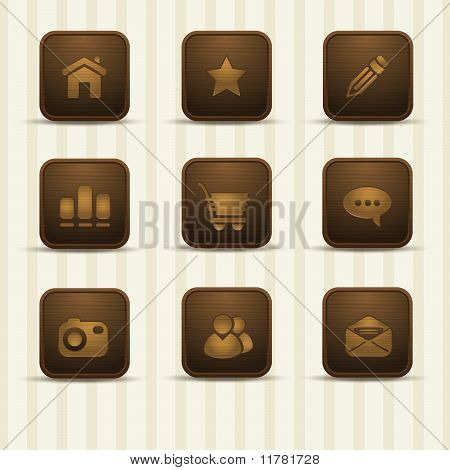 set of realistic wooden icons, part 1