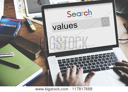 Values Evaluate Price Rate Cost Worth Spent Economy Concept