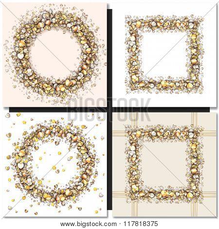 Set of Golden frames on black background. Gold sparkles on black background. Gold glitter vector.