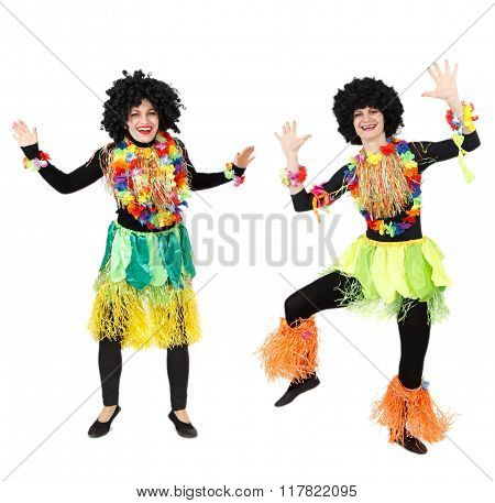 Two Female Papuans In Native Costumes Dancing Isolated On White