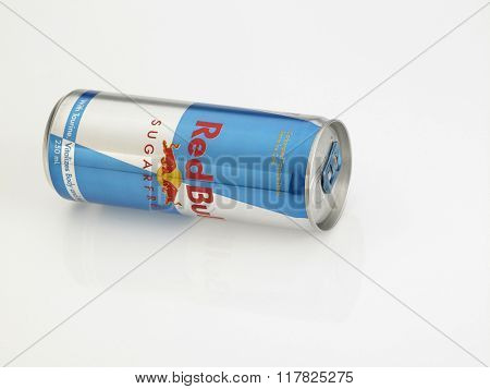 Kuala Lumpur Malaysia Jan 18th 2016,red bull sugar free aluminum can on the white background
