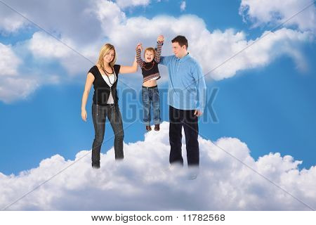 Family With Haging Boy On Cloud Sky Collage