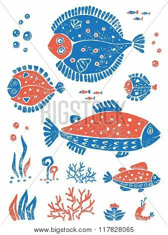 Set of fishes in naive lino style