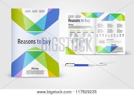 Modern brochure. Color application booklet template design for corporate identity with statistics and infographics. Cover layout and infographics. Business stationery.